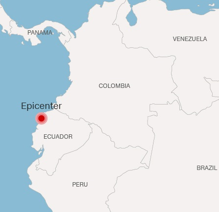 Epicenter of Ecuador