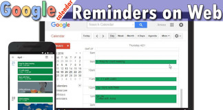 google calendar reminders on web