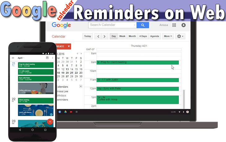 Google Calendar Reminders Desktop on Web