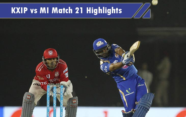 KXIP vs MI Highlights
