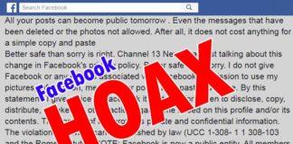 Facebook Fake Privacy Notice