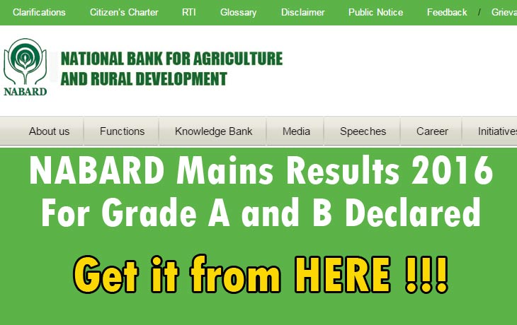 NABARD Mains Results 2016 For Grade A and B Declared