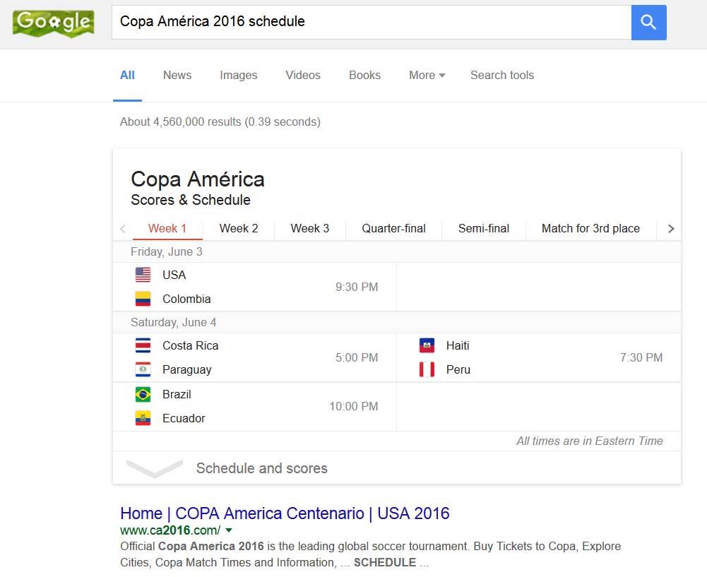 2016 Copa America Google Doodle