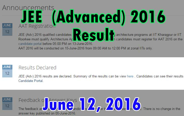 JEE Advanced 2016 Exam Result