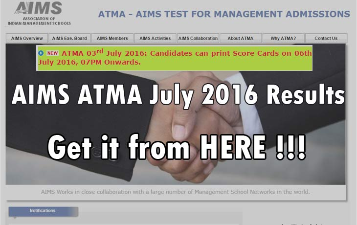 AIMS ATMA July 2016 Results