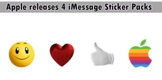 Apple releases 4 iMessage Sticker Packs