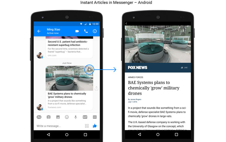 Facebook Instant Articles in Messenger for Android Users