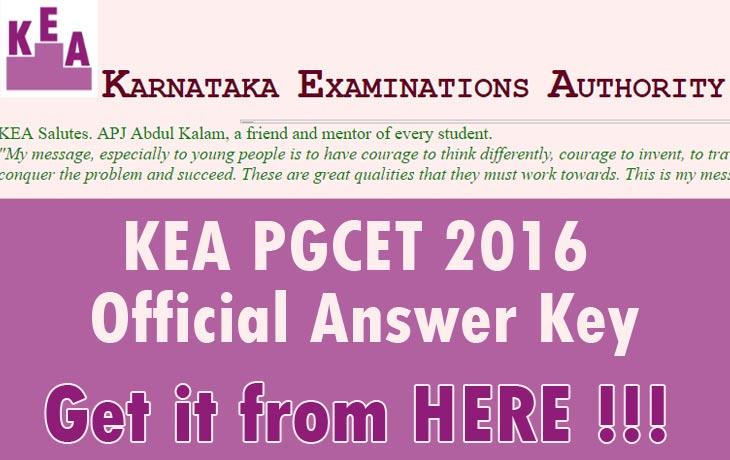 KEA PGCET 2016 Official Answer Key