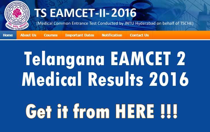 Telangana EAMCET 2 Medical Results 2016
