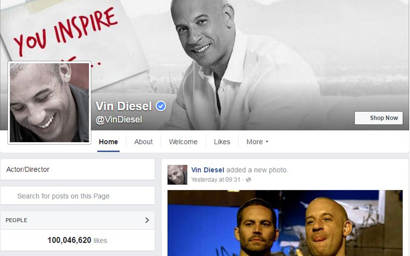 Vin Diesel Facebook Followers count reaches 100 Million