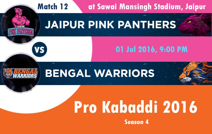 Jaipur Pink Panthers vs Bengal Warriors | Pro Kabaddi 2016 | Season 4 | Match 12