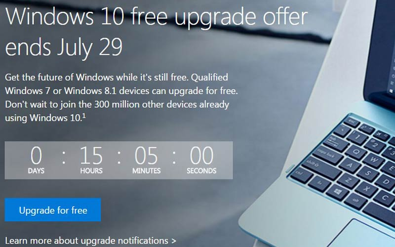 windows 10 free upgrade ends today
