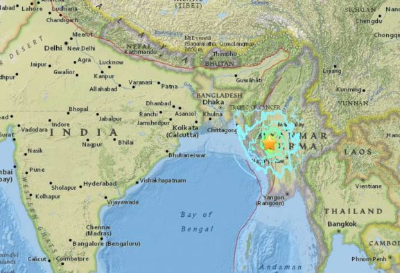Myanmar earthquake recorded as 6.8 Magnitude on Wednesday Evening