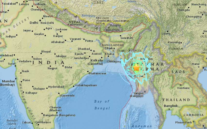 Myanmar earthquake recorded as 6.8 magnitude in Wednesday Evening