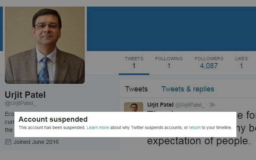 Urjit Patel fake Twitter account deleted
