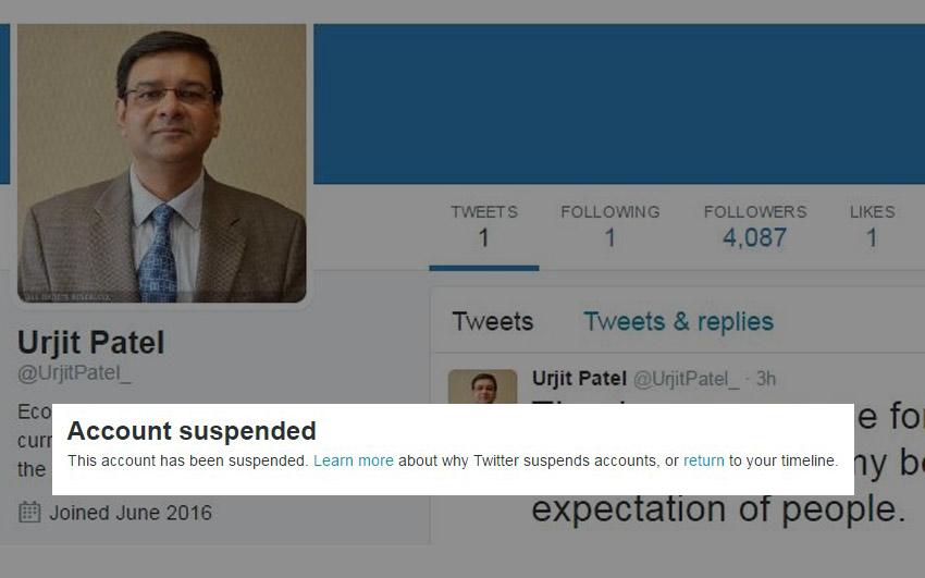 Urjit R. Patel fake Twitter account deleted
