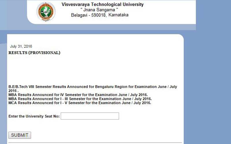 VTU 8th Semester Results 2016