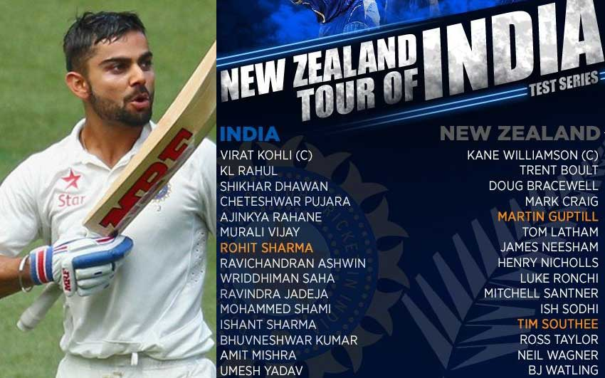 India squad against New Zealand Test series announced