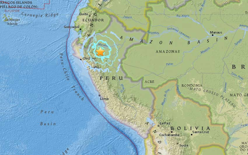 Peru Earthquake 6.0 magnitude quake from 51km N of Moyobamba