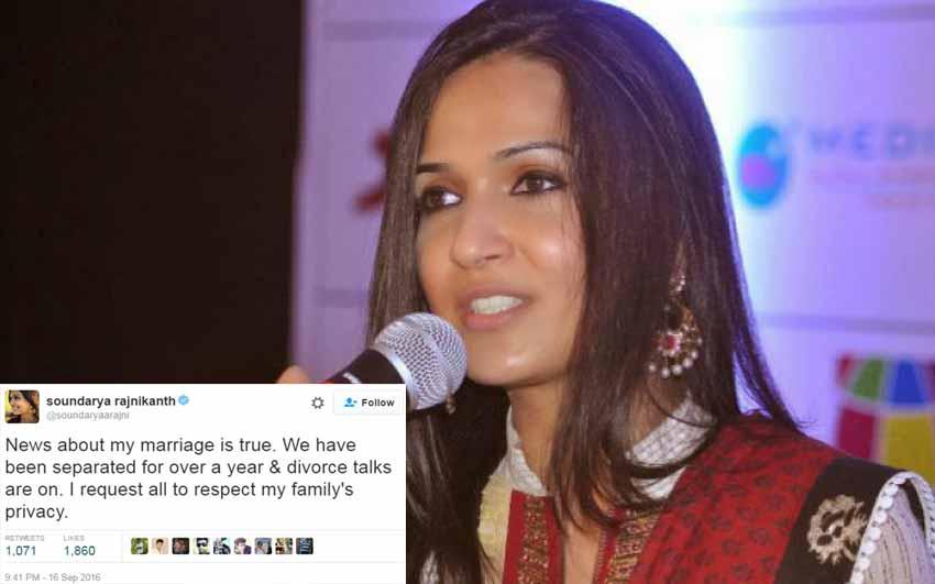 Rajinikanth's daughter Soundarya Divorce Talk is True