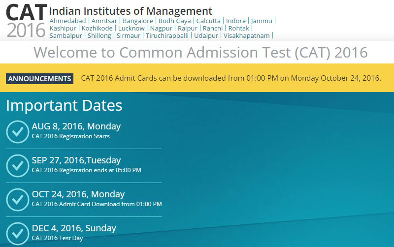 CAT 2016 Admit Card  Halltickets available from October 24 at iimcat.ac.in