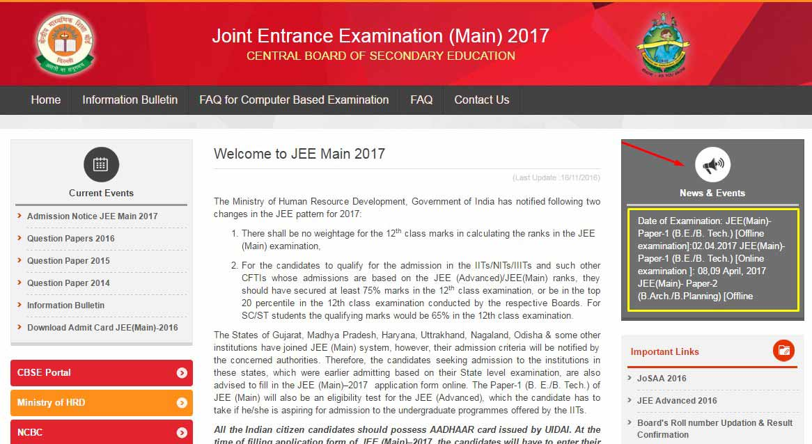 JEE Main 2017 The Exam Dates and Important Notifications Released