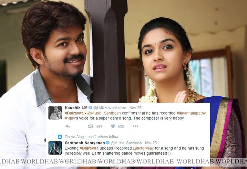 Ilayathalapathi Vijay sung a song for Bairavaa & Earth shattering dance guaranteed: SN