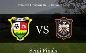 Santa Tecla vs Aguila Lineups, Final score: Primera Division De El Salvador