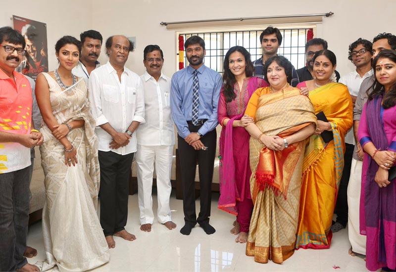 VIP 2 Pooja begins with Superstar Rajini [Photo] along with cast and crew