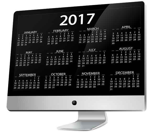 English New Year 2017 Calendar