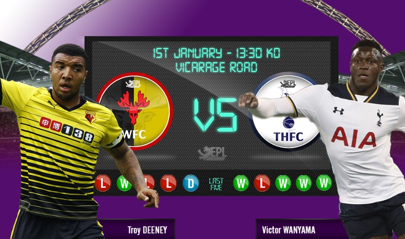 watford vs spurs live match 2017 new year