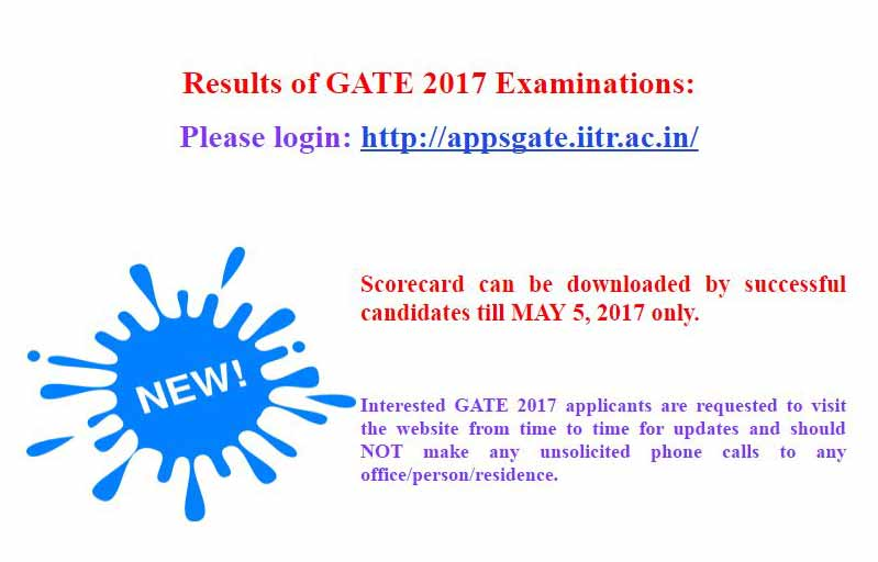 Gate Results: GATE 2017 Results Declared, Check Gate 2017 Score Card