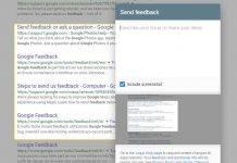 Google Search Feedback Added Screenshot feature
