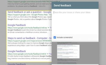 Google Search Feedback Added Screenshot feature