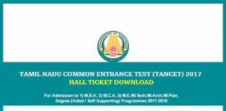 TANCET 2017 Hall Ticket Released - Check the Updates