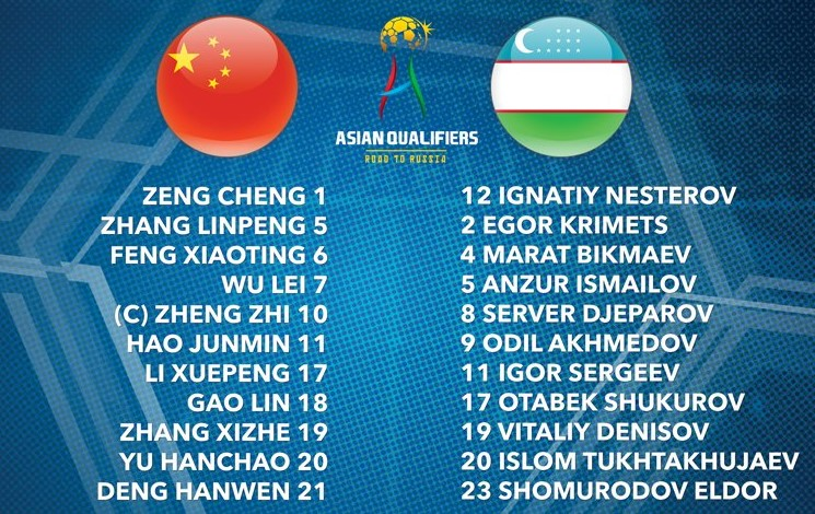 China vs Uzbekistan World Cup Qualifier 2018 playing XI