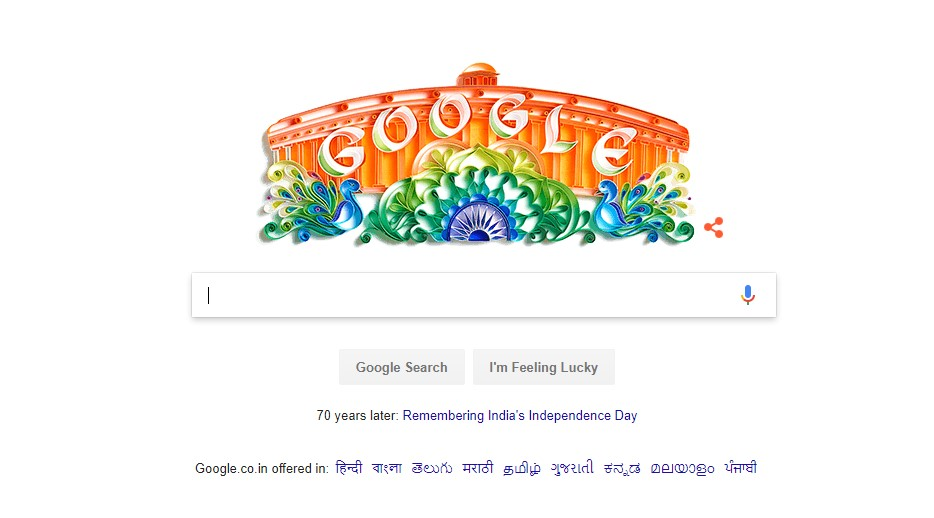 Tricolor Google Doodle To Celebrate 70 Years Of Independence
