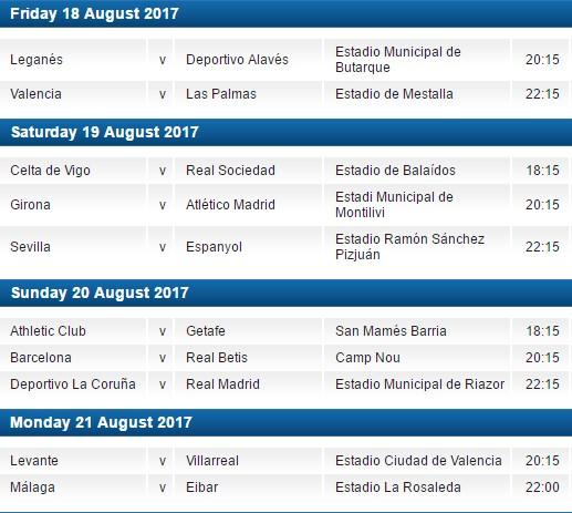 La Liga 2017-18 opening weekend fixtures