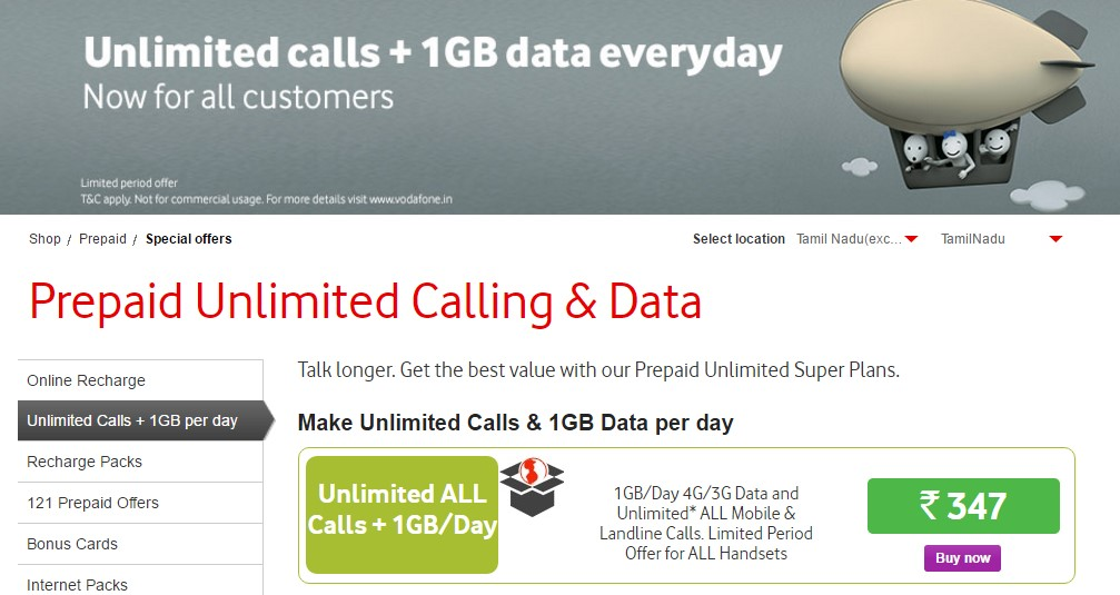Vodafone Unlimited Calls & 1GB Data per day