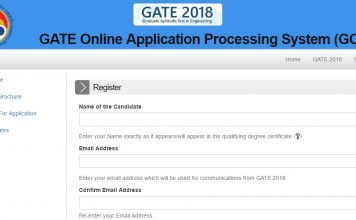 GATE 2018 Application Process started today