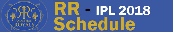 Rajasthan Royals - IPL 2018 - RR Schedule - RR 2018