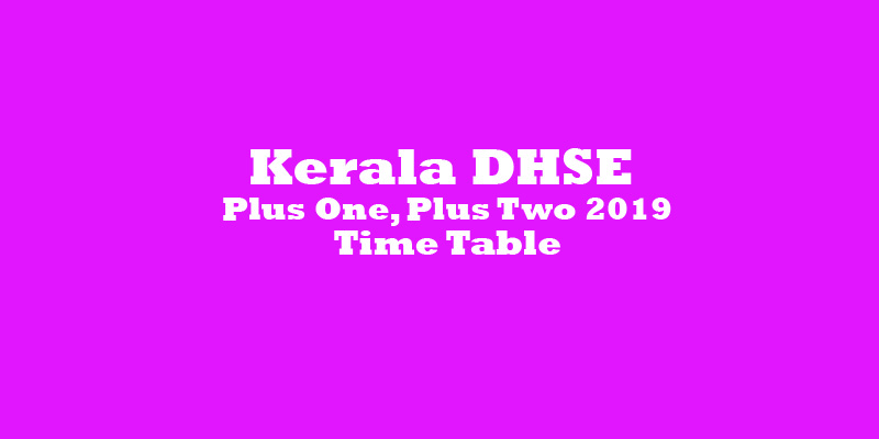Kerala DHSE Plus One, Plus Two 2019